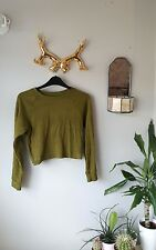 American Apparel Khaki Cropped Long Sleeve Top - Size L