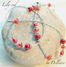 ✫LILY RED✫ BEADED EYEGLASSES GLASSES SPECTACLES CHAIN  HOLDER CORD