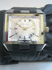 POLICE PROWLER WATCH BLACK LEATHER SILVER DIAL 12551J BNIB GENUINE
