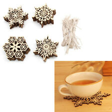 40pcs Plain Snowflake Embellishments Wood Christmas Tree Decor Hanging Tags Gift