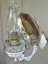Antique Kerosene White Cast Iron Wall Bracket Oil Lamp Glass Mercury Reflector