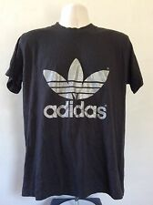 Vtg 80s Adidas Glitter Trefoil T-Shirt Black Silver Double Sided 50/50