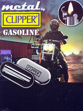 Clipper Metal Chrome Petrol / Oil / Gasoline Flip Lid Lighter In Gift Tin New