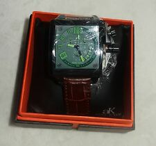 ADEE KAYE MENS WATCH green DIAL BROWN LEATHER band AK7115-M- new
