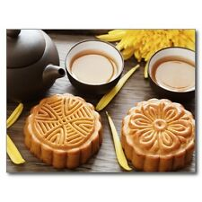 "*Postcard-""Mooncake and Tea"" ..,Chinese Mid Autumn Festival-"