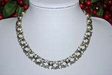 STUNTING VINTAGE MONET NECKLACE OF SILVER TONED METAL SATIN FINISH ROUND LINKS