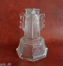 "Vtg Salvage Clear Glass Lamp Base for Parts Restoration Repurpose 6-1/4"" Tall"