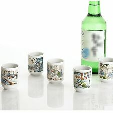 Drinking glass sets shot glasses for soju Genre Painting Drinking Ceramic Cup 5P
