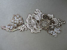 IVORY GOLD SILVER BEADED DIAMANTE EMBROIDERED SEW ON APPLIQUE MOTIF
