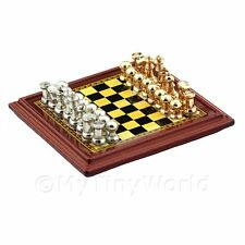 Dolls House Miniature Wood Effect Chess Board With Metal Playing Pieces