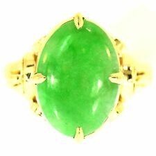 5 CT FINE GREEN JADE RING 14K YELLOW GOLD NATURAL ESTATE VINTAGE JADEITE SIZE 8