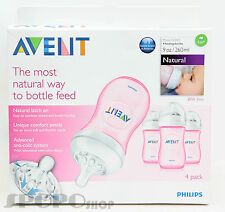 Philips Avent BPA Free Natural Polypropylene Bottle x 4 260ml (PINK) 0-12 Month