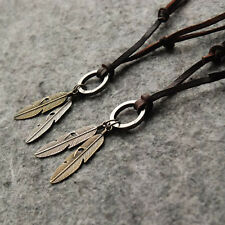 Cool Mens Womens Unisex Charms Choker 2 Wings Feather Pendant Leather Necklace