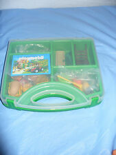 Playmobil Farm Garden Equipment Green Carry Case Chairs Broom Accessories MINT!