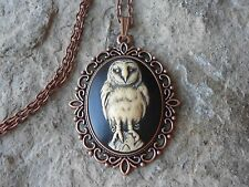 BARN OWL (HAND PAINTED) CAMEO PENDANT COPPER NECKLACE - HALLOWEEN, GOTH, WICCA