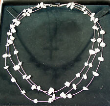 3-Strand Rose Quartz Stone Chip Crystal Gemstone Necklace, Reiki Blessed, 46cm