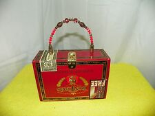CIGAR BOX PURSE WITH GOLDTONE LOCKET AND BEADED, GOLD HANDLE