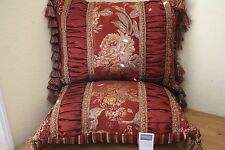 CROSCILL HARVEST MANOR DECORATIVE ACCENT PILLOWS (2) TASSLED RED GOLD & GREEN