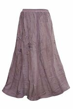 BOHEMIAN WOMEN'S MAXI SKIRT PURPLE EMBROIDERED GYPSY HIPPY BOHO LONG SKIRTS