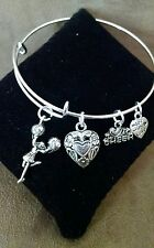 Expandable Silver Colored Bangle Charm Bracelet I LOVE CHEER SPORTS/CHEERLEADER