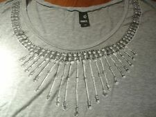 BUCKLE 'OBEY' GRAY NECKLACE GRAPHIC DOLMAN 3/4 SLEEVE OVERSIZED TOP - XS