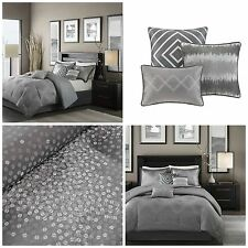Contemporary King Size Gray Shimmer Comforter Set 7 Piece Silver Accents Bedding