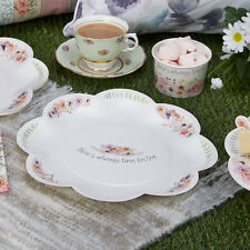 8 x Vintage Style Tea Party Paper Plates Shabby Chic Flower Buffet Wedding Plate