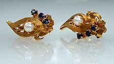 Vintage & antique 14k yellow gold pearl & Sapphire earrings with french clip