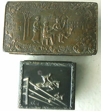 Two Vintage Wood-Lined Metal Dresser Boxes, Scenes Stamped on the Metal