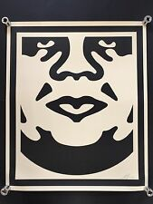 SHEPARD FAIREY Obey Giant Face 3 CREAM SIGNED RARE art large print hand signed