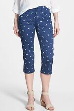 NWT NYDJ NOT YOUR DAUGHTERS JEANS Bella Navy Dragonfly Print Slim Crop Pants 16P