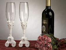 Classic Cinderella Carriage Wedding Toasting Flutes Cake Knife & Serving Set