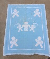 VINTAGE REVERSIBLE BLUE & WHITE TEDDY BEAR PRINT BABY BLANKET WITH SATIN BINDING