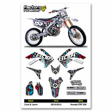 2010 - 2013 HONDA CRF 250 Dirt Bike Graphics kit Motocross Graphics Live & Learn