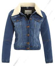 NEW Plus Size 18 20 22 24 DENIM JACKET Women's Borg Jean Jackets Ladies Blue