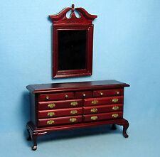Dollhouse Miniature Classic Bedroom Dresser with Wall Mirror in Mahogany ~ D1140