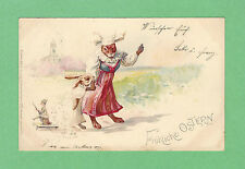 1899 FANTASY PC Mother RABBIT, BUNNY w/ TOY on STRING, in DRESSES, LAKE, VILLAGE