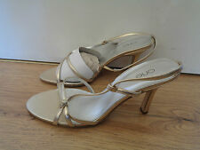 BNWOB Ladies Size UK 8 Gold Strapped 3.5 Inch Heeled Shoe By One RRP £45