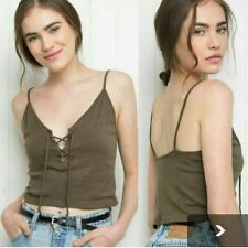 BRANDY MELVILLE JOHN GALT Bethany Olive Lace Up Crop Top *2356