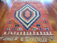 "#ABSKILIM7- Turkish Anatolian Kilim, size 4'8""x7'1"", terra cotta, hand-woven"