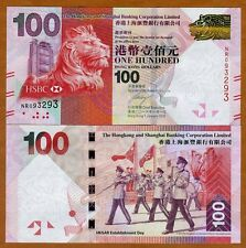 Hong Kong, $100, 2016, HSBC, P-214-New, UNC   Lion, Marching Band