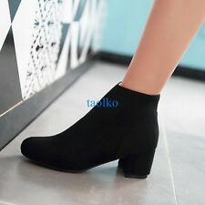 Women's Ladies Faux Suede Ankle Boots Block Mid Heel Pointed Toe Shoes Plus Size