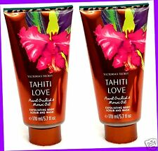 2 Victoria's Secret TAHITI LOVE Pearl Orchid & Monoi Oil Body Scrub & Wash