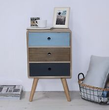 SET of 2 Bedside Sidetable 3 drawers Storage unit Bedroom furniture Retro style