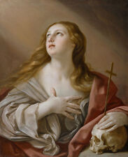 Oil painting Salome Guido Reni - Mary Magdalene with skull and cross canvas