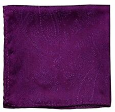 New Men's Polyester Woven pocket square hankie only purple paisley prom wedding