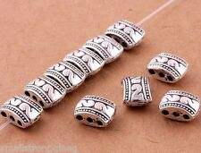 10 Pcs Tibetan Silver 3hole Beads Spacer Bracelet Charms Jewelry Findings