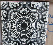 "12~Talavera Mexican tile pottery hand painted 6"" hand made Black White swirl"