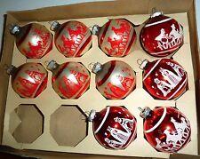 10 VINTAGE SHINY BRITE GLASS STENCIL SILKSCREEN CHRISTMAS ORNAMENTS RED NATIVITY