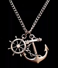 Anchor Rudder Necklace 24inch Chain Nautical Rockabilly Charm Necklace *UK*